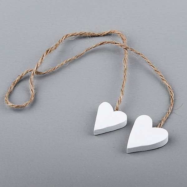 Wooden Hearts 2 pcs on a string White - 3 cm
