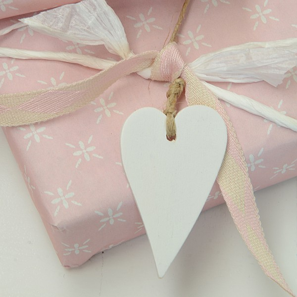 Wooden Hearts 5 pcs - White