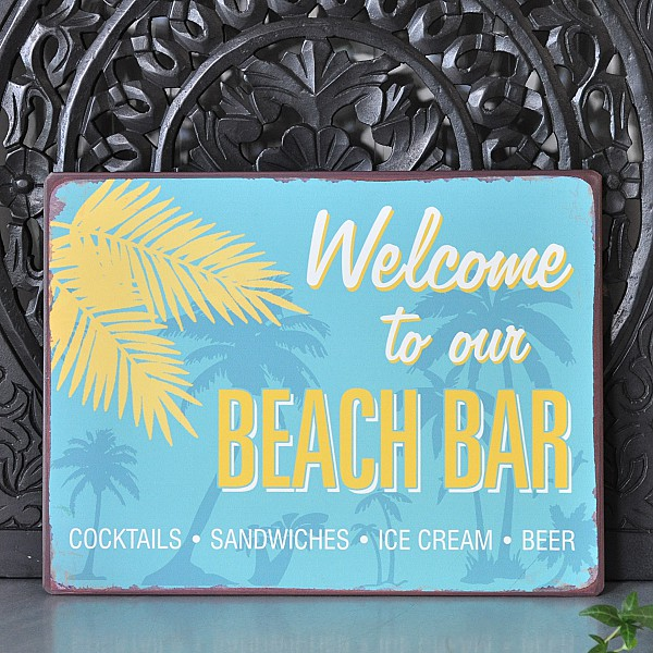 Welcome To Our Beach House Sign: Tin Sign Welcome To Our Beach Bar - La Finesse