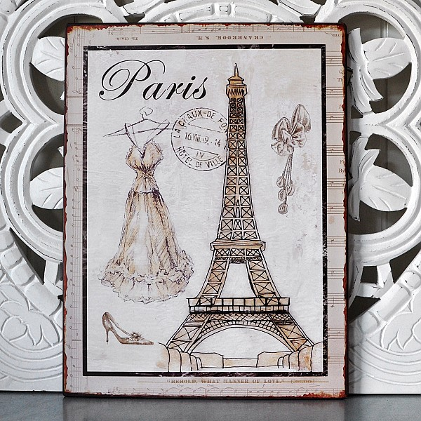 Tin Sign Paris with la tour eiffel