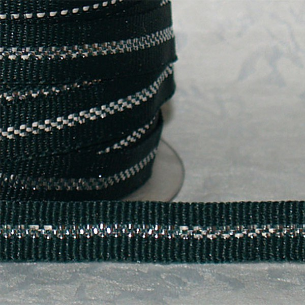 Ribbon with silver thread - Green