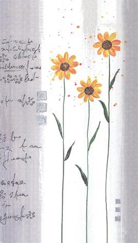 Greeting Card Three Yellow flowers