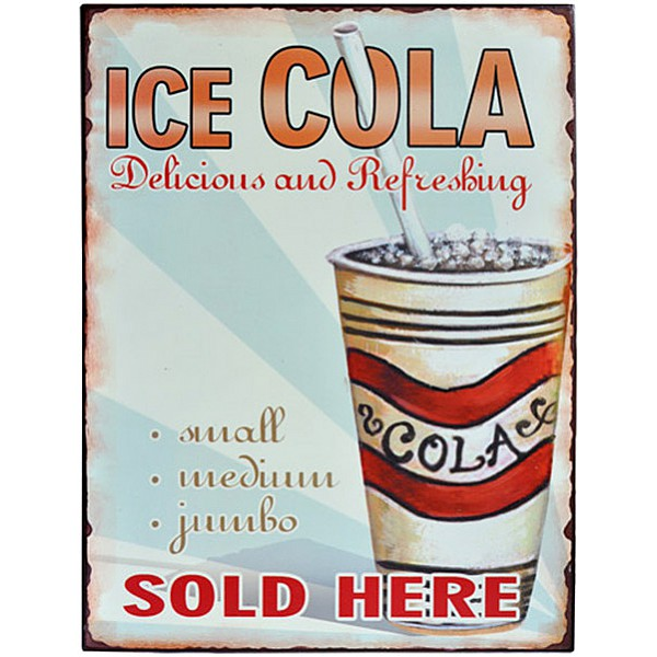 Tin Sign ICE COLA