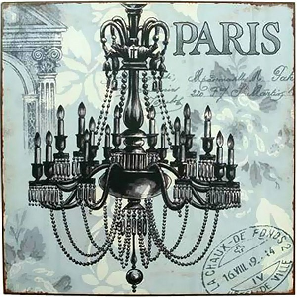 Tin Sign Paris with chandelier