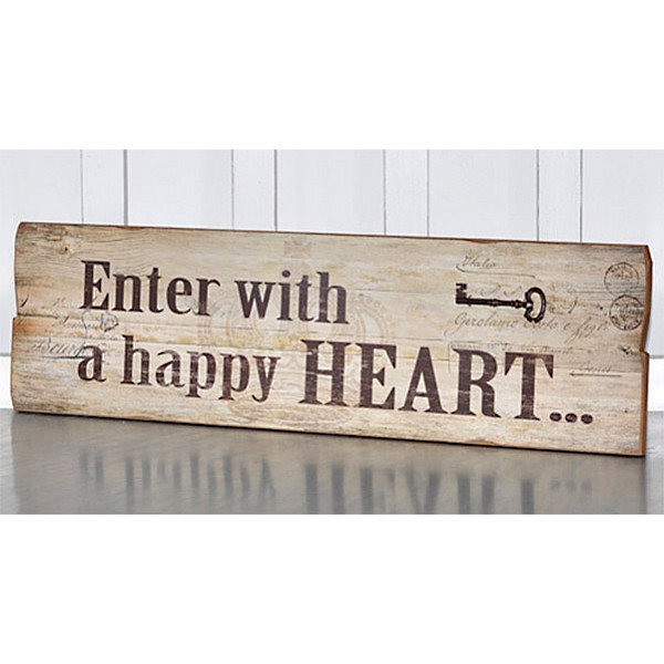 Wooden Sign - Enter with a happy heart