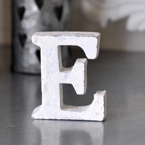 Small Wooden Letter E - White