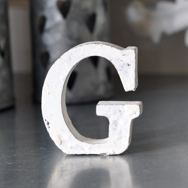 Small Wooden Letter G - White