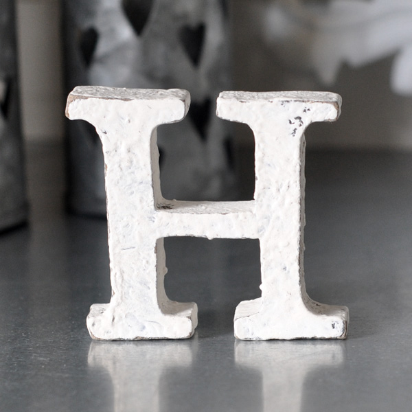 Small Wooden Letter - H - White