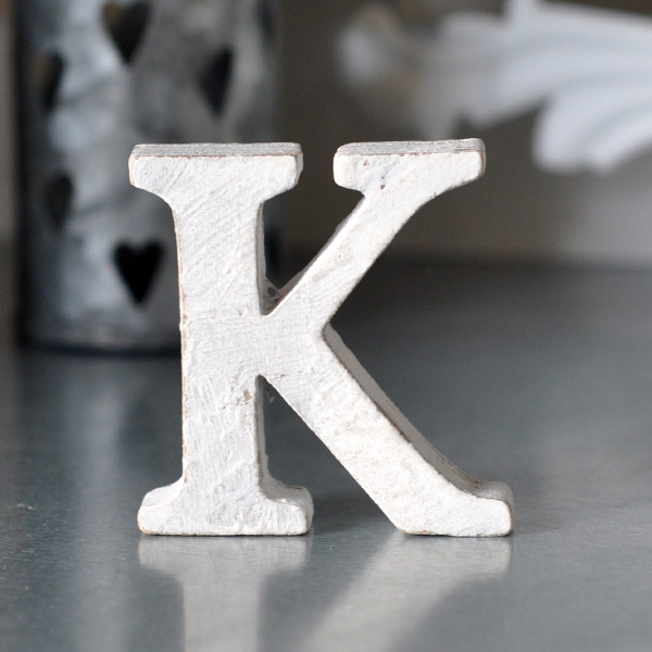 Small Wooden Letter K - White