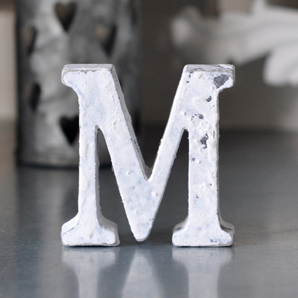 Small Wooden Letter M - White