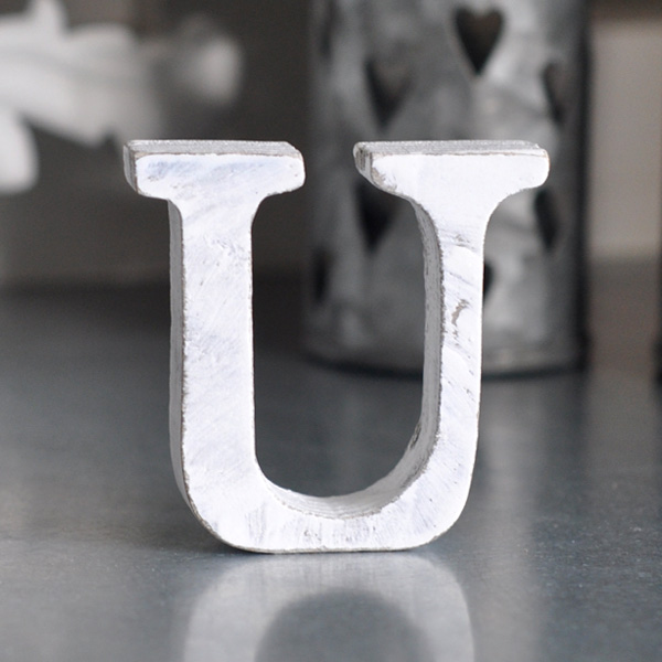 Small Wooden Letter U - White