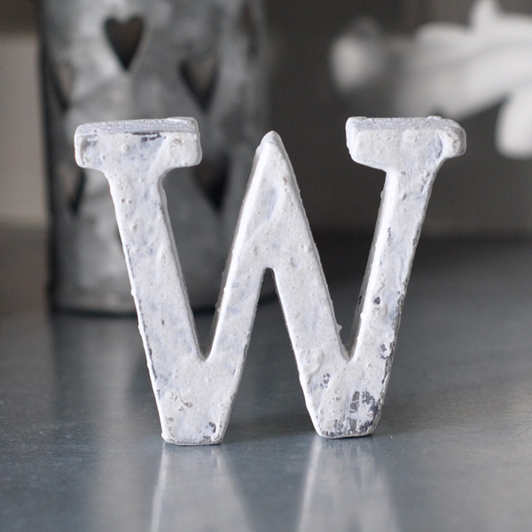 Small Wooden Letter W - White