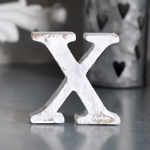 Small Wooden Letter X - White