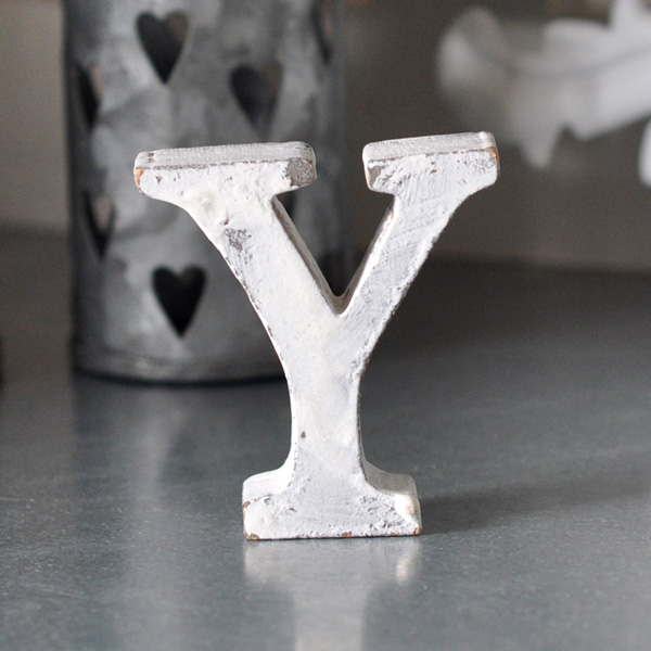 Small Wooden Letter Y - White