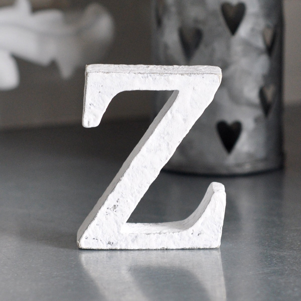 Small Wooden Letter Z - White