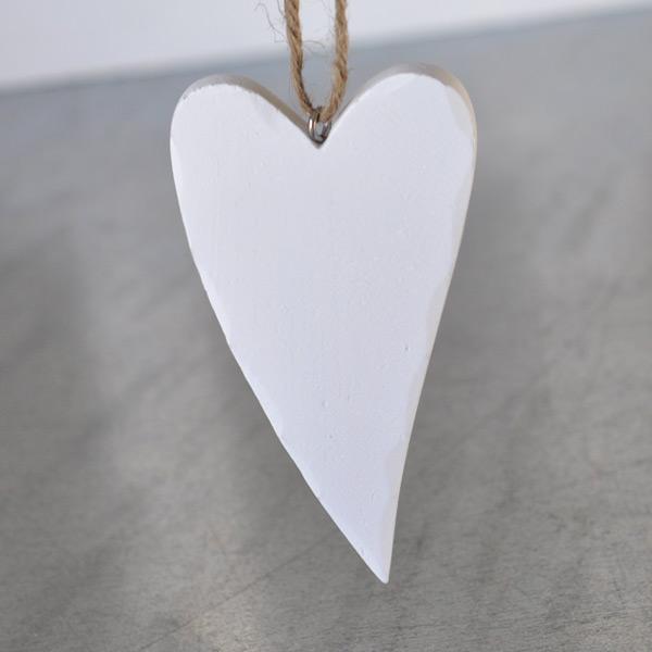 Wooden Heart White - 10 cm
