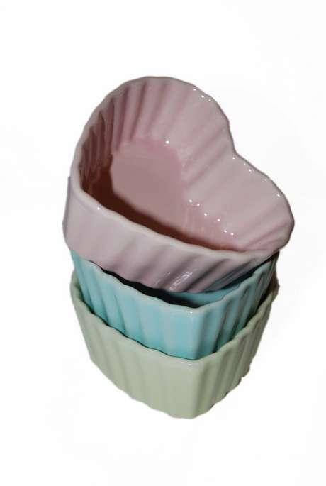 Baking dish / Dessert bowl Heart Pastel Turquoise - Large