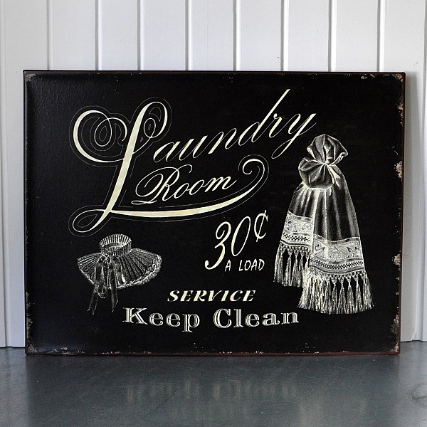 Tin Sign Laundry Room - Black