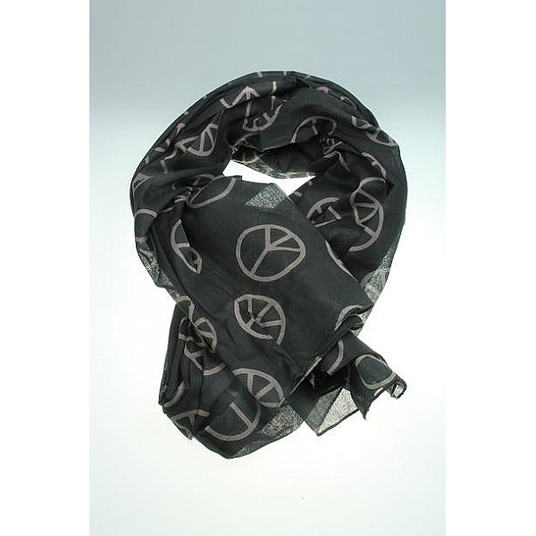 Scarf with peace signs - Black