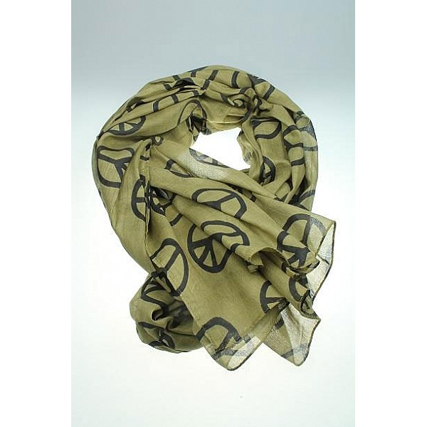 Scarf with peace signs - Green