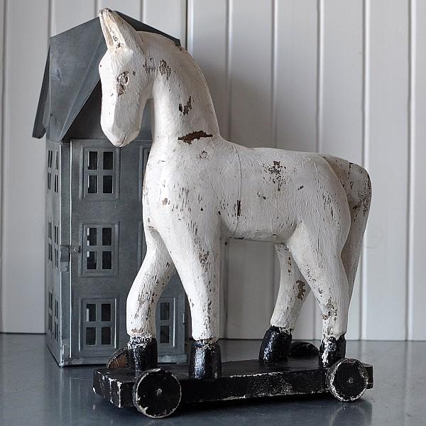 Horse on wheels TROJA - White