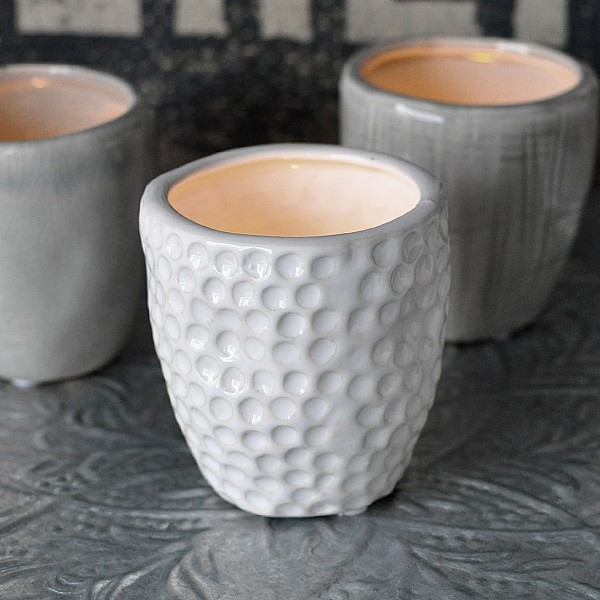 Candle Holder / Mini Pot CUP Dots White - Small