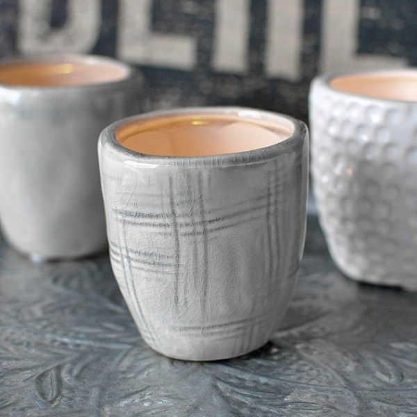 Candle Holder / Mini Pot CUP Patterned Light Grey - Small