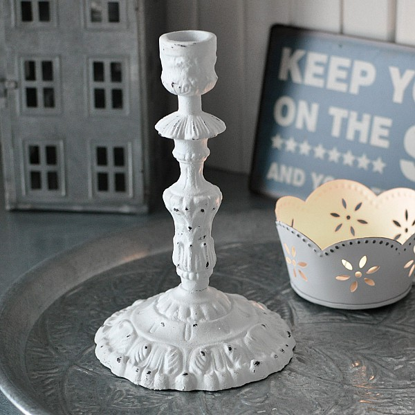 Candlestick / Candle Holder NERO White - 19 cm