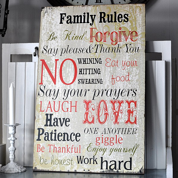 Wooden Sign Family Rules