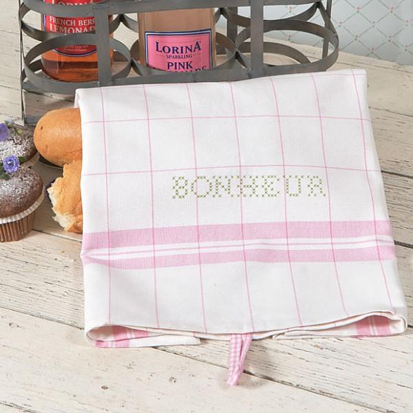 Tea Towel Bonheur White / Pink