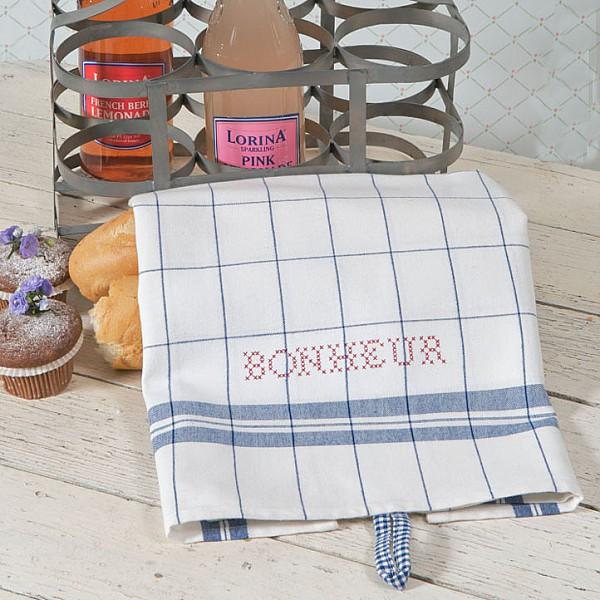 Tea Towel Bonheur White / Dark blue