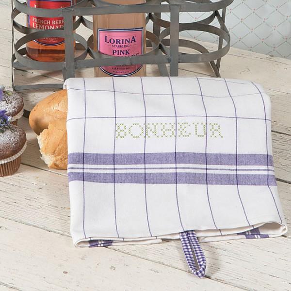 Tea Towel Bonheur White / Purple