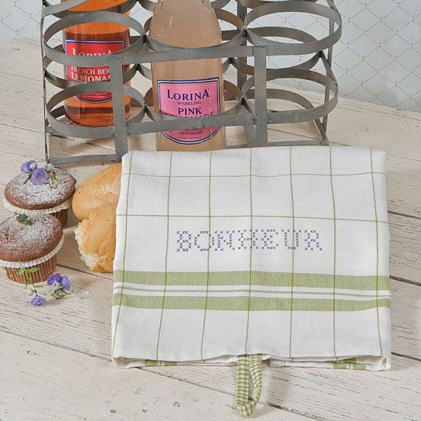 Tea Towel Bonheur White / Dark Green