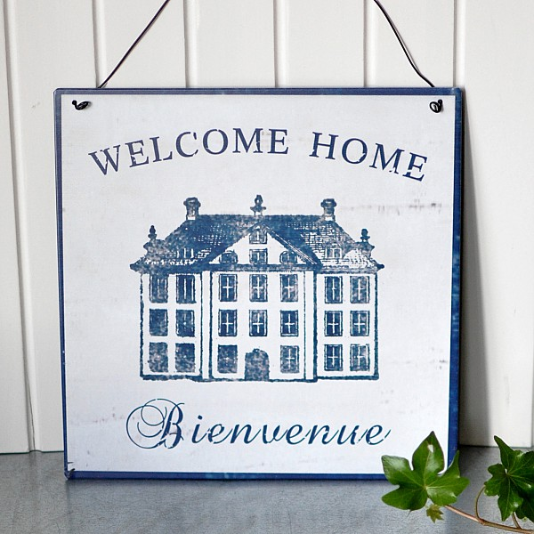 Tin Sign Welcome Home - Bienvenue