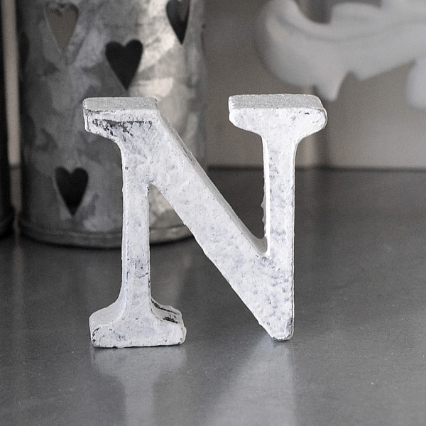 Small Wooden Letter N - White