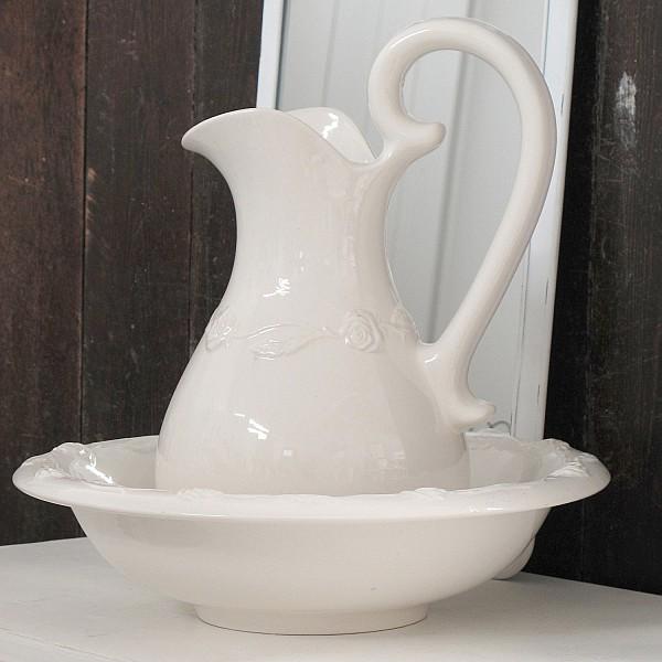 Wash Set / Wash Jug and Bowl - Roses - Large