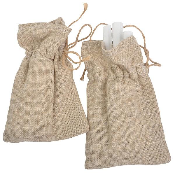 Chalks in a linen bag - White