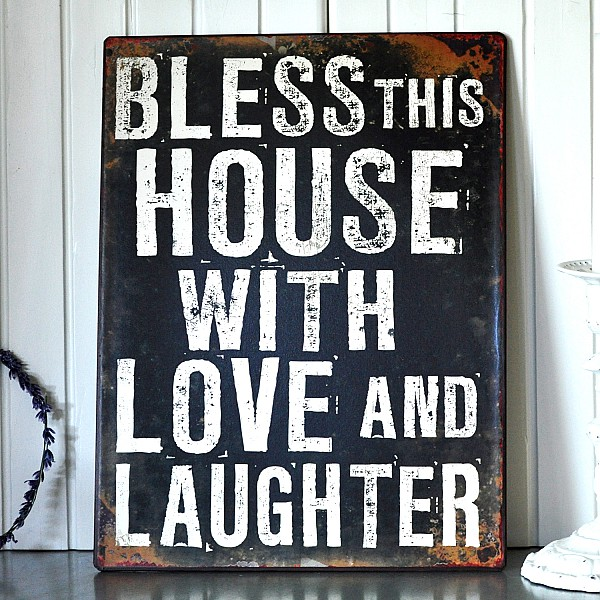 Tin Sign Bless this house with love and laughter