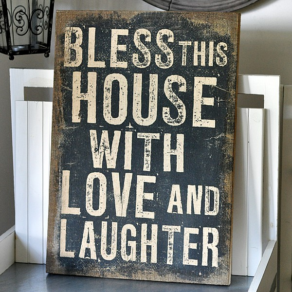 Canvas Bless this house with love and laughter