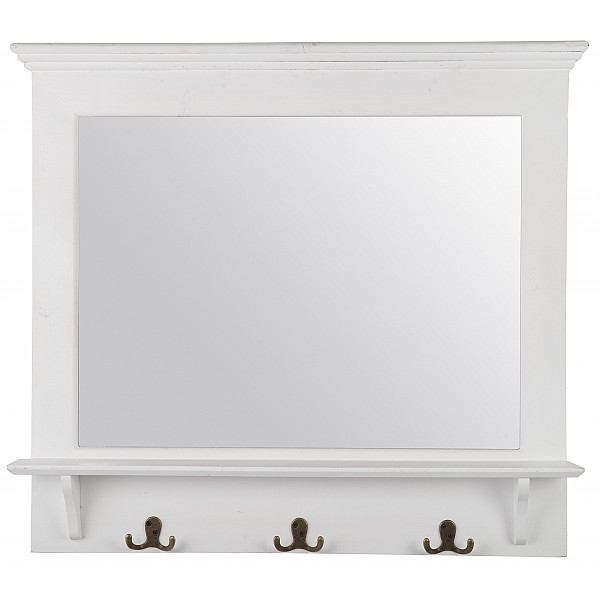 Mirror with hooks - Shabby Chic - White