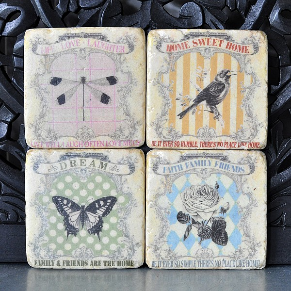Coasters Bird, Butterfly, Dragonfly, Rose