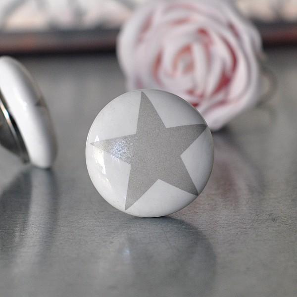Porcelain Knob Star - Grey