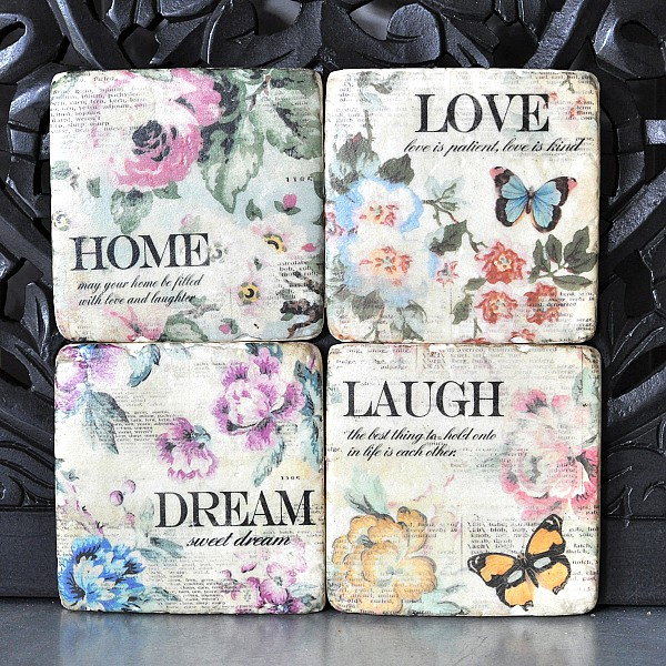 Coasters 4 pcs - Laugh Dream Home Love