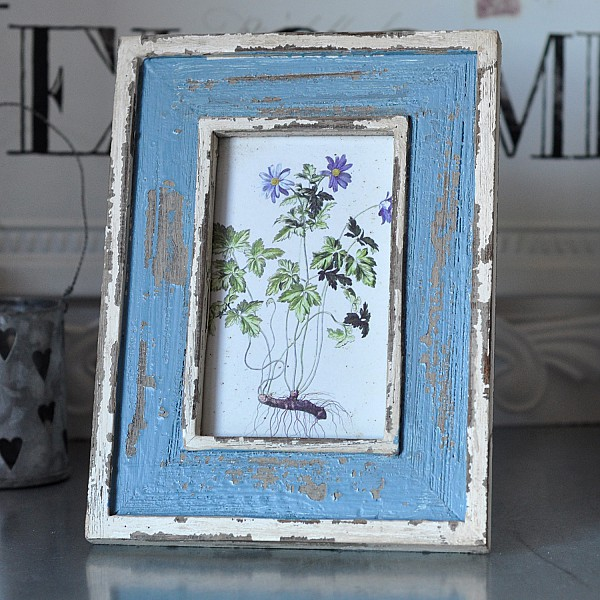 Photo Frame Chapped - Blue/White
