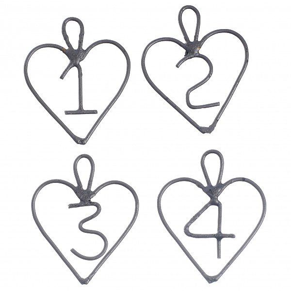 Advent Numbers Hearts in zinc 1-4