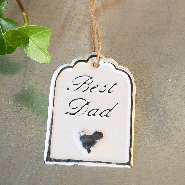 Tag Best Dad with heart 6 x 4 cm - White
