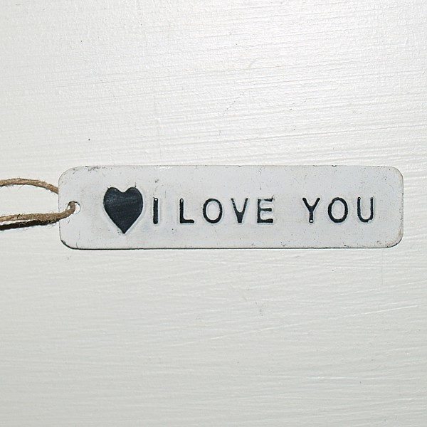 Tag I love you with heart - White
