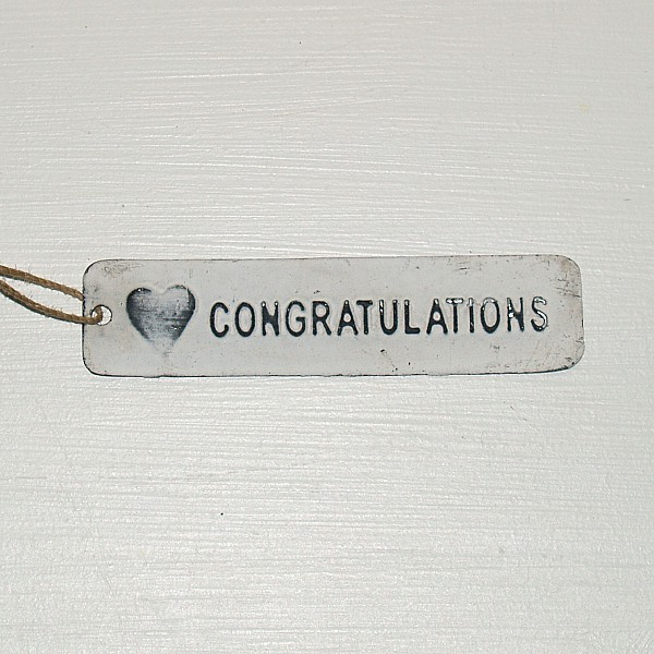 Tag Congratulations with heart - White