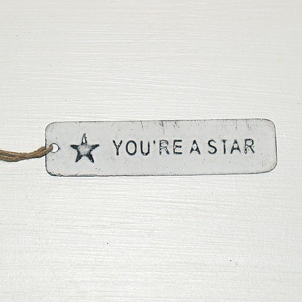 Tag You're a star med stjärna - Vit