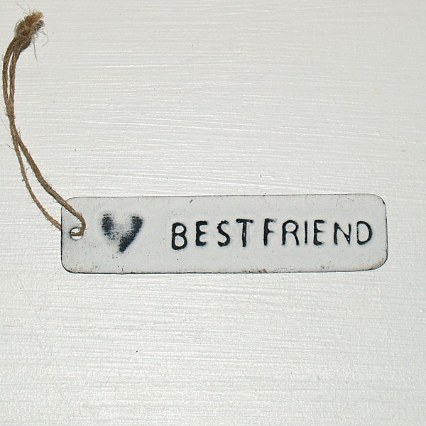 Tag Best friend with heart - White